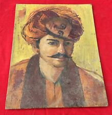 VINTAGE BEAUTIFUL PAINTING OF TRIBAL MAN THINKING OF WOMAN ON CANVAS BOARD