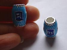 5 enamel beads tube large hole blue metal charm jewelry making wholesale bulk UK
