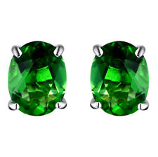 #E10608P 2.4ct. Forest Green Helenite Oval Stud Earrings in 925 Sterling Silver