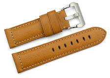 24mm Brown Genuine Padded Leather Watch Bands Steel Tan Clasp Strap  For Panerai