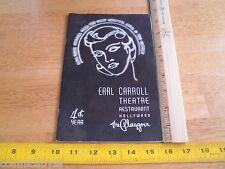 Earl Carroll Theatre Restaurant Hollywood menu 1940s VINTAGE vanities