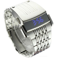 Men Watch Stainless Steel Mens Blue LED Digital Sport Quartz Wrist Watch Silver
