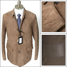New BRIONI Brown Quilted Suede Leather 4Btn Driving Jacket Car Coat 52 L 42 NWT!