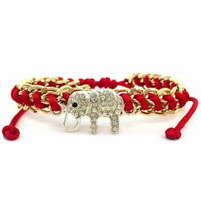 New Summer Gold Chain Rhinestone Silver Elephant Red Shamballa Pull  Bracelet