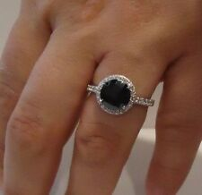 BLACK CENTER RING W/ 3.50 CT LAB DIAMONDS / SZ 5 - 9 / 925 STERLING SILVER