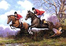 Hunting Horse Jumping British Countryside Farming Pheasant Small Metal/Tin Sign