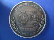 MEDALLION COMMEMORATING FIFTH ANNIVERSARY OF POSTAL SERVICE