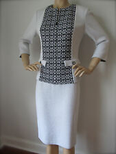 NEW ST JOHN KNIT SZ 8 WOMENS BLACK & WHITE SUIT JACKET SKIRT BOUCLE WOOL RAYON
