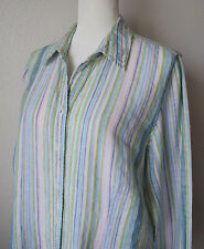 COLDWATER CREEK Shirt Blouse 100% Linen Multi-Striped Long Sleeve Size PXL 18