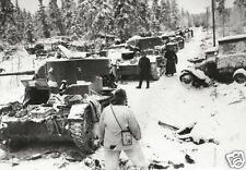 "Finnish Troops With Wrecked Russian Tanks 1940 World War 2, Reprint 6x4"" Photo"