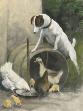 SMOOTH FOX TERRIER CHARMING DOG GREETINGS NOTE CARD BEAUTIFUL DOG AND CHICKENS