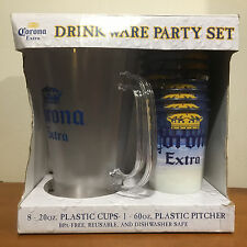 Corona Extra Beer Plactic Drinkware Set, 8 - 20 oz Glasses & 60 oz Pitcher