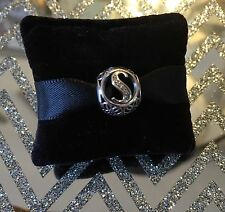 Genuine Pandora Silver Vintage Letter S Charm 791863CZ With Pandora Gift Pouch