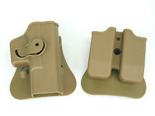 High Quality For GLOCK 17/19 RH Pistol & Magazine Paddle Holster TAN