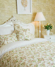 KING SIZE VINTAGE FLORAL QUILTED BEDSPREAD 100% COTTON  PINK / GREEN ON CREAM