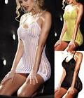 Fishnet lace Babydoll Sexy Lingerie Mini Dress Bodystocking Backless Halterneck