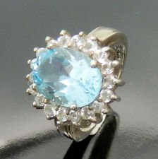 798.Super chicer Blau Topas Silberring 925 Silber 61 (19,4 mm Ø) ca.7 ct. TOP