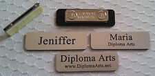 "Custom Name Tags 2.5""x0.75"" Silver -Black letters Corners Rounded w/ magnet"