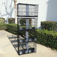 Set of 4 Stackable Breeding Bird Cage for Canary Finch Black
