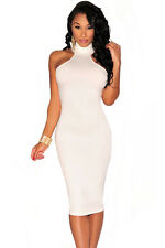 White Mock Neck Key-Hole Back Knee Length Party Club Midi Dress