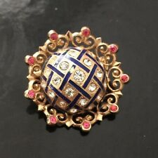 VINTAGE CORO GOLD TONE WITH PINK WHITE RHINESTONES AND BLUE ENAMEL BROOCH PIN