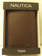 Nautica Mens Trifold Brown Leather Wallet  NWT $50