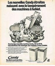 PUBLICITE ADVERTISING 054  1974  CANDY   machine à laver à hublot