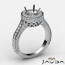 Round Diamond Engagement Platinum Semi Mount 1.6Ct Halo Pave Set Filigree Ring