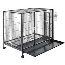"""43"""" Large Dog Kennel w/ Wheels Portable Pet Puppy Carrier Crate Cage Heavy Duty"""
