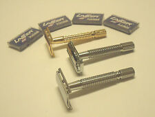 3 PCS OLD SCHOOL MENS VINTAGE CLASSIC SAFETY RAZORS + 20 RAZOR BLADES GIFT SET