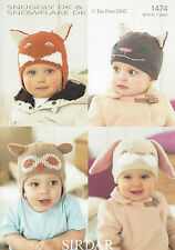 VAT Free Knitting PATTERN ONLY To Make Baby Toddler Animal Hats Helmets New 1474