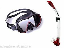 Adventure At Nature Orca Black Dive Mask With Red Metal Snorkel Scuba Diving Set