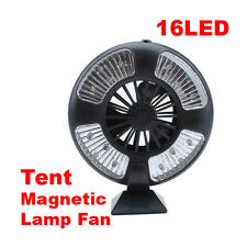 Portable Magnetic 16 LEDs Outdoor Bivouac Camping Tent Lamp Light with Fan #Exo