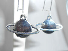 "New  larger Ringed PLANET  Saturn Sci Fi Silver-tone Dangle Earrings 1-1/3"" long"