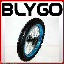 "BLUE 12mm Axle 60/100- 14"" Inch Front Wheel Rim Knobby Tyre PIT PRO Dirt Bike"