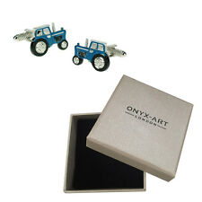 Mens Blue Tractor Farmer Cufflinks & Gift Box - Young Farmers By Onyx Art