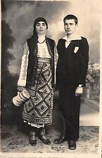 b520 real photo couple types folklore costumes romania