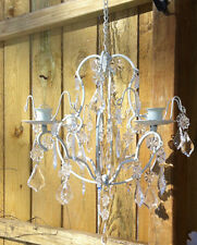 Chic Ivory Shabby hanging crystal Chandelier Candle Holder wedding centerpiece