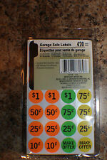 420 Neon Yard Garage Rummage Sale Price Tag Sticker Labels-Preprinted & Blank