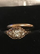 Edwardian 10k yellow Gold Ring with 3 Old European Cut Diamond And 14k band
