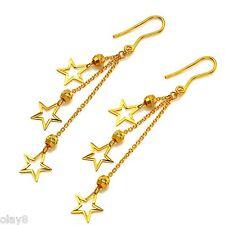 Pure 999 24K Yellow Gold Earrings Women O Link Star Bead Tassels Dangle Earrings