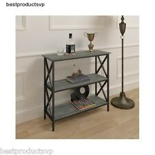 Wooden Console Table Modern Black Wood Gray Entryway Metal Hall Sofa Entry Grey