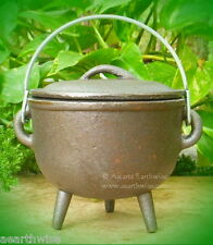 PLAIN CAST IRON CAULDRON WITH LID Z Wicca Pagan Witch Goth Incense Spell Herbs