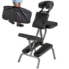 Chaise de Massage Tatouage Pliante et Transportable en Noir Rembourrage épais