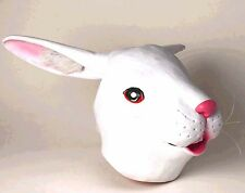 White Bunny Rabbit Full Latex Cosplay Costume Mask Creepy - Fast Ship -