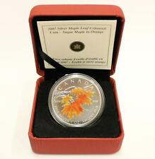 2007 Sugar Maple Leaf in Orange Fine Silver Coin in Case with COA