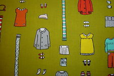 Little Apples Aneela Hoey Little Outfits 1 yard  fabric Olive stash Sale