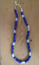 """Vintage African Recycled Rough Blue White Glass String Trade Beads Necklace 13"""""""