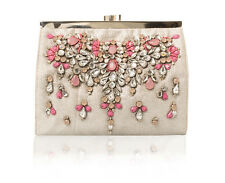 New ex Accessorize Monsoon Silver & Pink Gem Embellished Clutch Bag RRP £39
