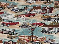 Classic Car Gas Station Duvet Cover Twin Full Camper Glamping Canned Ham 74 x 76